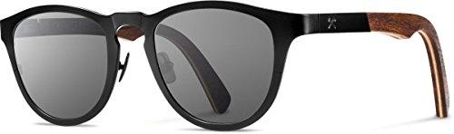 Shwood Titanium Fifty-Fifty Francis Sunglasses - Black Titanium/Dark Walnut Frame with Grey - Shwood Fifty Fifty