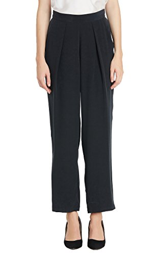 LILYSILK Silk Pants Women Pure Mulberry Real 23MM Casual Business Bottoms Soft Harem Style Black S/4-6 by LilySilk