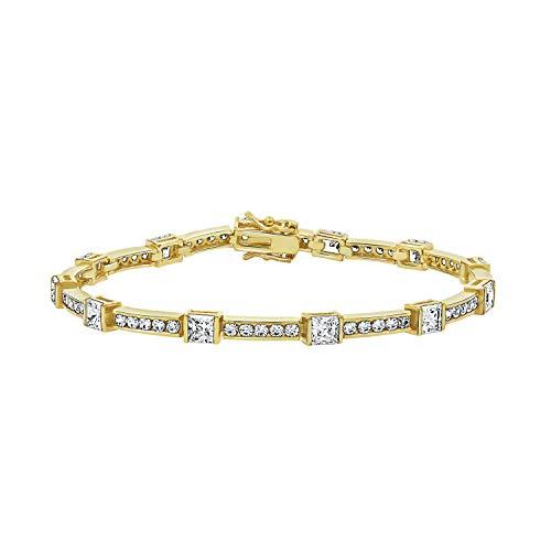 (Diamonbliss Sterling Silver or 14K Gold Clad Cubic Zirconia Princess Bracelet - 14K Clad,7-1/4)