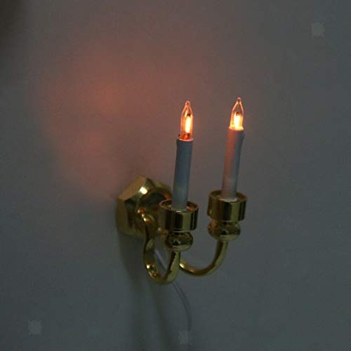 NATFUR Dollhouse Miniature Double-Headed Candle Sconces Wall Lamp Room Accessory