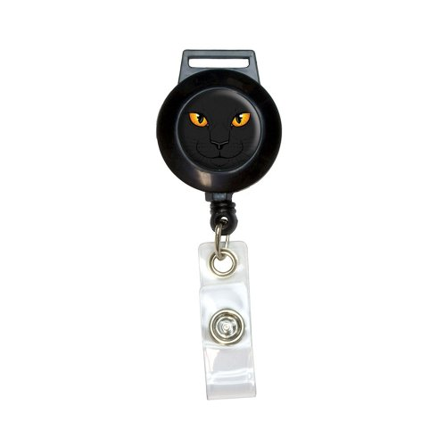 Black Cat Face - Pet Kitty Halloween Lanyard Retractable Reel Badge ID Card Holder