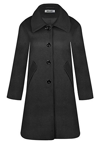 Women's Wool Blend Single Breasted Classic Long Sleeve Top Pea Coat Winter Trench with Peter Pan Collar
