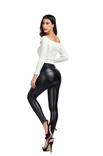 MCEDAR Women's Faux Leather Leggings with Pockets Girls' Black High Waist Sexy Skinny Slim Fit Pants for Causal, Club, Night Out. (S, ()