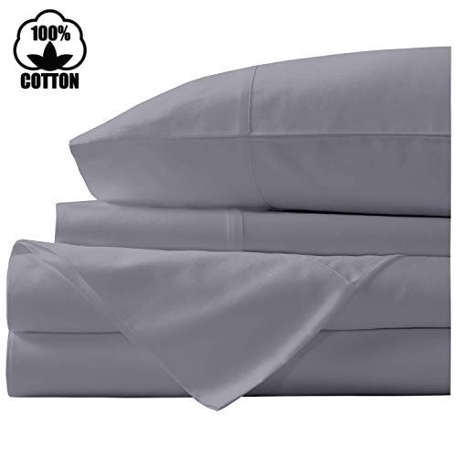 (Nish & Joe 100% Cotton Bed Sheet, 300-Thread-Count Extra Long Staple, Luxurious Sateen Weave , 4-Pc King Sheet Set,Fits Mattress Upto 15''fit Deep Pockets, Fade & Stain Resistant - King, Grey)