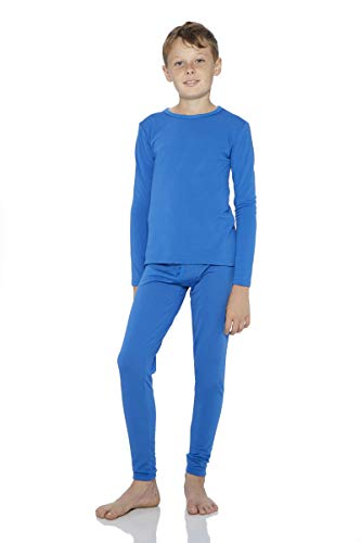 Rocky Boy's Fleece Lined Thermal Underwear 2PC Set Long John Top and Bottom (XS, Blue) ()