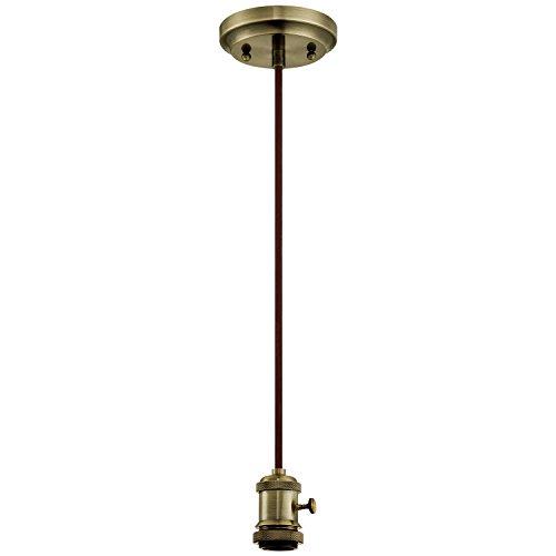 Westinghouse Lighting 6103100 One-Light Adjustable Vintage Mini Pendant with Turn Knob, Antique Brass