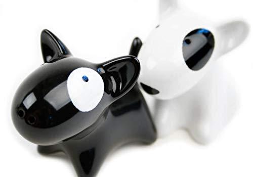 Bull Terrier Small Black And White Handmade Ceramic Cruet Set (10cm x 8cm)
