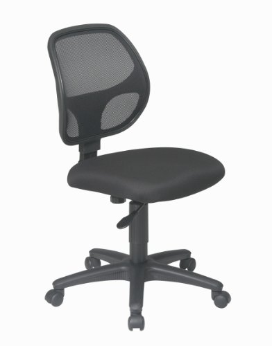 Office Star Mesh Screen Back Armless Task Chair with Padded Fabric Seat, Black by Office Star