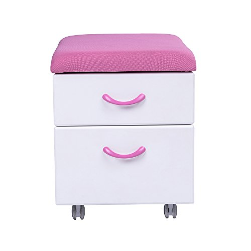Sunon Soft Seating Pedestal Mobile 2-Drawer File Cabinet with Cushion for Kids/Children or Parents Seating(Pink)
