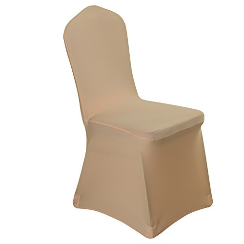 Uniquemystyle Stretch Polyester Spandex Dining Chair Cover For Wedding  Banquet Party (Champagne)