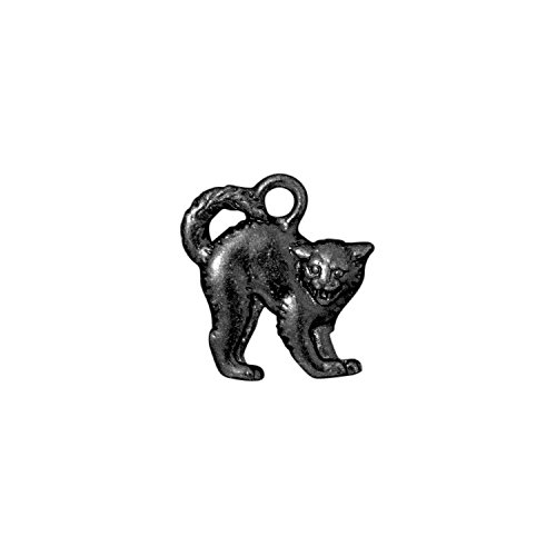 TierraCast Charm, Scary Cat, 18mm, Gunmetal/Black Finish Pewter, 3-Pack -