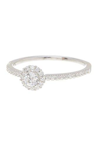 ADORNIA Sterling Silver and Swarovski Crystal Mini Halo Ring