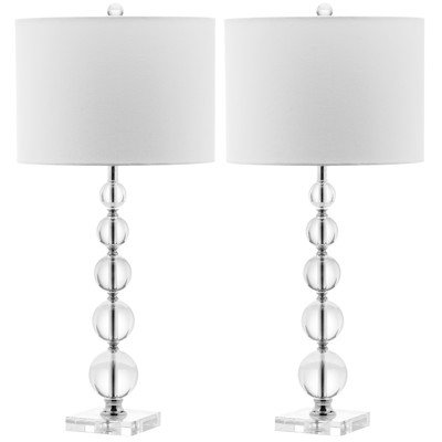 Safavieh Lighting Collection Liam Stacked Crystal Ball 29-inch Table Lamp (Set of 2)