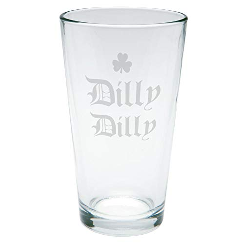 - Old Glory St. Patrick's Day Dilly Dilly Shamrock Etched Pint Glass Clear Glass Standard One Size