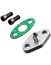 PitVisit -4AN Fitting Turbo Oil Flange Built-In Restrictor Adapter Kit with Gaskets and Bolts Compatible with T3 T3/T4 Turbo Applications