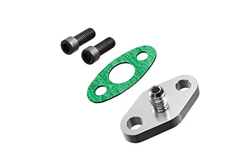 PitVisit -4AN Fitting Turbo Oil Flange Built-In Restrictor Adapter Kit with Gaskets and Bolts Compatible with T3 T3/T4 Turbo - Flange Feed