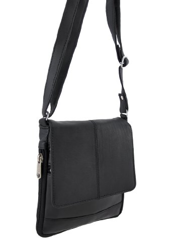Black Napa Leather Expandable Crossbody Purse, Bags Central
