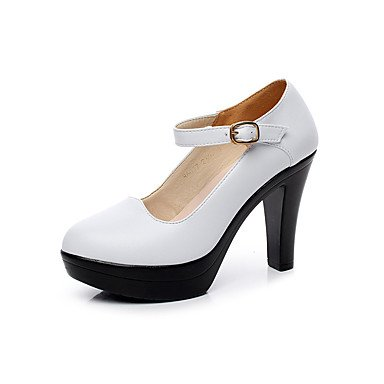 Us5 Bianco Casual Quadrato Cn34 9 5 Di 7 Cm Pelle Donna Tacchi 5 Uk3 Nero Decolleté Eu35 Black Estate ggx Lvyuan Da qC8Uvv