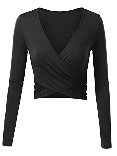 ENIDMIL Women's Basic Deep V-Neck Crop Tops Long Sleeve Slim Cross Wrap Casual Bodycon T Shirt (Black, S) ()