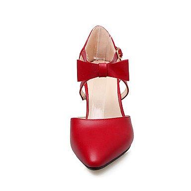 Talones de las mujeres Primavera Verano Otoño Invierno Club de los zapatos de la PU de oficina y carrera del partido y vestido de noche tacón grueso del Bowknot Rosa Beige Red