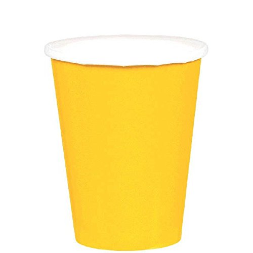 Disposable Party Cups Tableware, Yellow Sunshine, Paper , 9 Ounces, Pack of 20