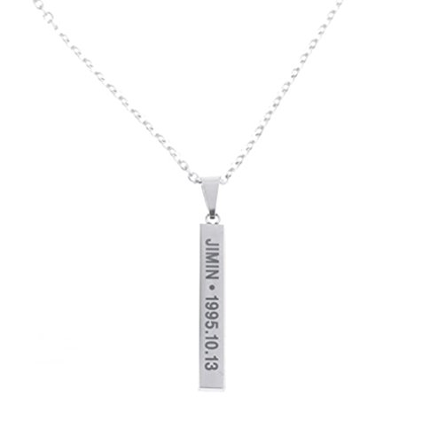 BTS Members Name Date Cuboid Bar Pendant Necklace Fashion Jewelry Silver Titanium Chain Necklaces & Pendants for Fans (Jimin) Silver Transparent Coat