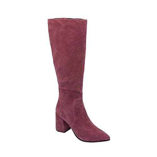 Suede Fashion Boot Boysenberry Block Insole Pointy Fall Padded New Knee Toe Arch Prima High Heel Support Comfortable waxU0YZ1q