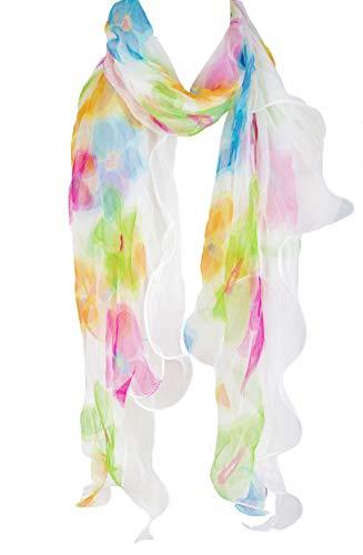 Ruffle Scarf - Double Layer 100% Silk, Floral Ruffle Silk Scarf, Summer scarf (Blue/Pink/Green)