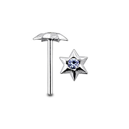 Lavender Gem Hexagon Star Sterling Silver Straight Nose pin Body jewelry