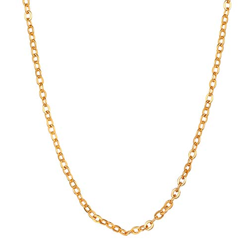 U7 2MM Cable Chain Necklace for Women Men 18K Gold Plated Rolo Link Chain 28 ()