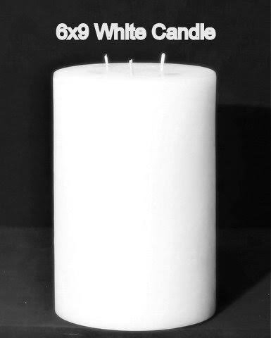 Cheap Pillar Candle – White, 6×9, Unscented, Hand Poured (3 wick)