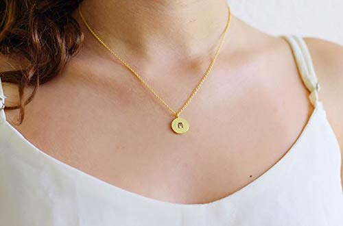 22d0a9fad KISSPAT Initial Necklace Gold Plated Round Disc Letter Pendant Necklaces  for Women Girls& Teens