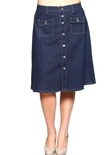 Jean Skirt Skort (GoModest Women's Casual Modest Knee Length A Line Button Denim Jean Skirt (Large))