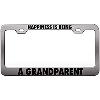Happiness Is Being A Grandma  Black Metal License Plate Frame Tag Holder