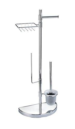 Wenko 196022500 Raumspar WC-Center Garnitur mit Ersatzrollen- und Feuchttücher-Halter, verchromtes Metall, silber glänzend, 18 x 34 x 84,5 cm