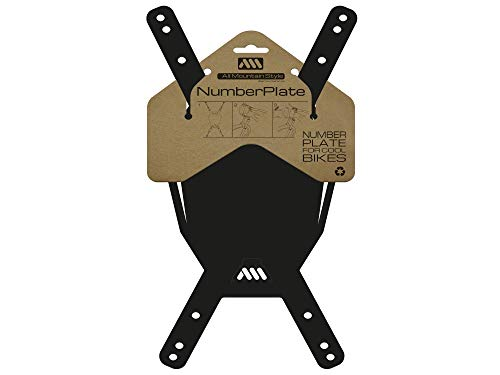 All Mountain Style AMS Number Plate, Black/White , One - Ams Bike