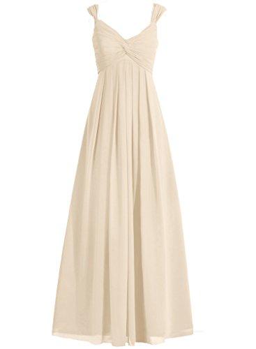 Bretelles Cdress Chérie Robes De Demoiselle D'honneur En Mousseline De Soie Longues Robes De Soirée De Mariage Champagne