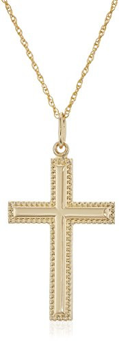 Men's 14k Gold Filled Solid Beaded Edge Embossed Cross with Gold Plated Stainless Steel Chain Pendant Necklace, 18