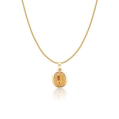 14K Yellow Gold Our Lady of Guadalupe Enamel Picture Charm Pendant with 0.9mm Wheat Chain Necklace - 18