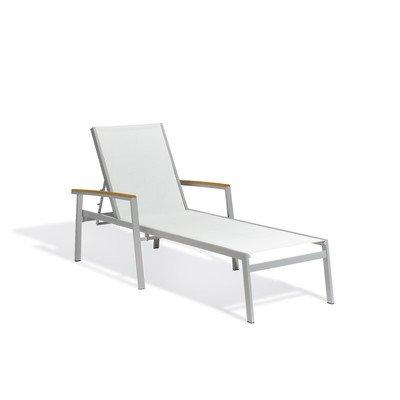 (Travira Chaise Lounge (Set of 2) Fabric Color: Natural, Armcap Material: Teak)
