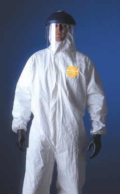 DuPont ProShield 60 NG122S Disposable Protective Coverall with Elastic Cuff, Hood and Boots, White, X-Large (Pack of 25) by DuPont (Image #1)