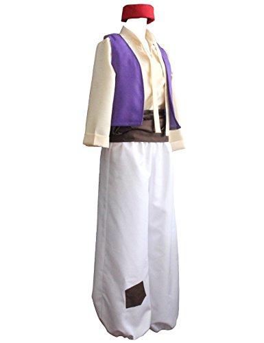 Ainiel Men's Arabian Prince Costume Aladdin Street Rat Suits (L) White -