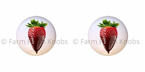 SET OF 2 KNOBS - Chocolate-covered Dipped Strawberry - Food and Drink - DECORATIVE Glossy CERAMIC Cupboard Cabinet PULLS Dresser Drawer KNOBS