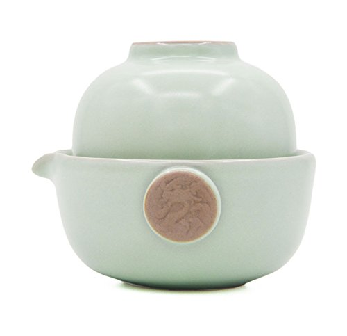 Vegali Celadon Pumpkin-Style Portable Gongfu Tea Set -100% Handmade Chinese / Japanese Vintage Gongfu Teaset - Porcelain Teapot & Teacups (Celadon-C)