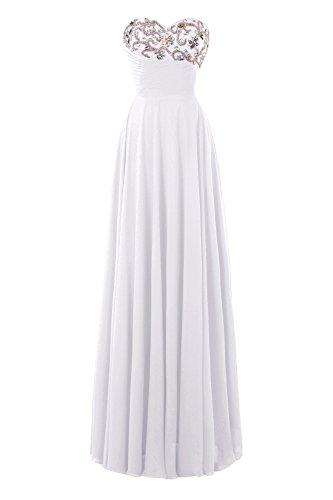 White Prom Bridal Women's Line Dresses up A Beaded Back Lace Bess Chiffon PzwOz