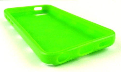 Emartbuy® Sparkling Pack Stylet Pour Apple Iphone 5c Vert Mousseux Mini Stylet + Protecteur D'Écran Lcd + Vert / Blanc Pois Gel De Couverture / Étui / Housse De Peau / Cas
