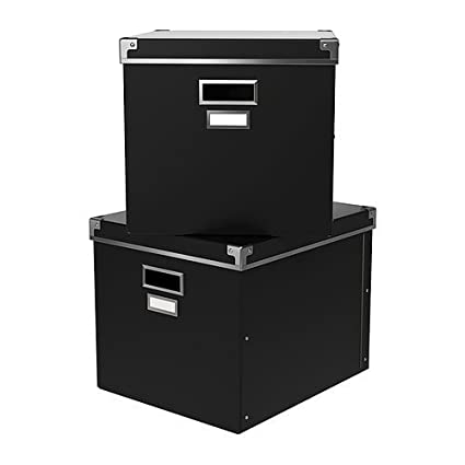Ikea Kassett Magazine Box Storage With Lid, Black   2 Pack