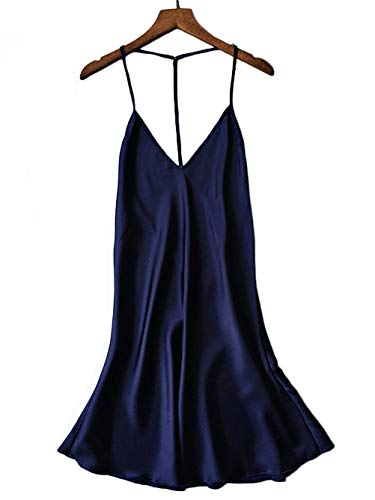 Kaei&Shi Silky Satin Nightie,Backless Lingerie for Women,Loose Sleepwear,Mini Nightgown,Spaghetti Strap Chemise Navy Blue Medium ()