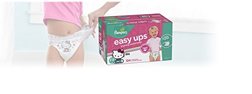 Large Product Image of Pampers Easy Ups Training Pants Pull On Disposable Diapers for Girls, Size 5 (3T-4T), 124 Count, ONE Month Supply