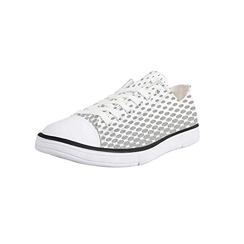 Canvas Sneaker Low Top Shoes,Geometric Circle Decor,Spiraling Rotary Circle Turning to Polka Dots Concentric Grid Lines Women - Concentric Dot